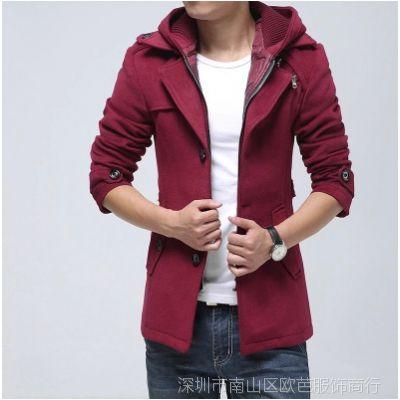 冬装新款男士毛呢大衣修身韩版男式风衣假两件潮男装外套 批发