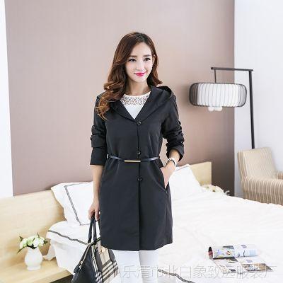 秋冬韩版品牌女装新款大衣中长款三色风衣女宽松连帽外套