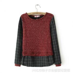 供应YSDADAI  S-欧美2013秋冬新款 修身圆领假两件毛线打底衫 女士