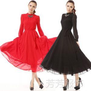 供应2014新款雪纺裙复古长款修身雪纺连衣裙长裙女