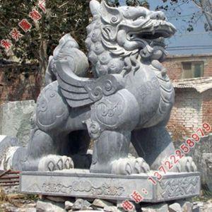 供应形态庄重石雕麒麟-动物石雕-曲阳永兴石雕麒麟雕刻厂