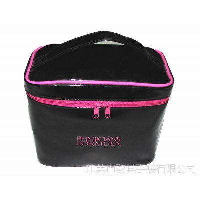 直销女士时尚洗漱化妆包 PU镜面革手提化妆包 户外旅行PVC化妆盒