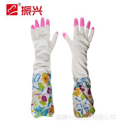 振兴加绒保暖加厚加长家务手套乳胶洗衣洗碗橡胶手套