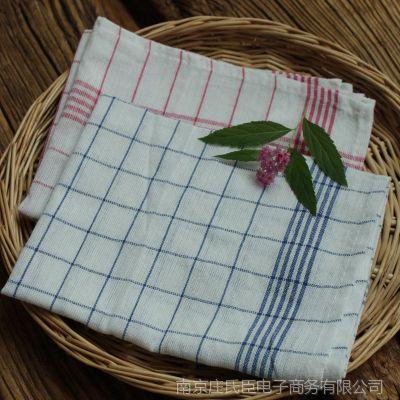 素色方形棉麻格子茶巾条纹格子多用垫 zakka