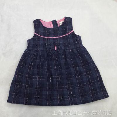 外贸原单童装女孩格子马夹连衣裙女童双层马甲裙小童蝴蝶节厚裙子