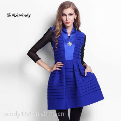 2014秋装新款欧美大码女装抽褶无袖品牌连衣裙女领口镶钻百褶裙