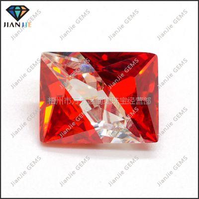 供应梧州人造宝石 三色拼色 4*6MM 长方彩色锆石 3XREC-060106
