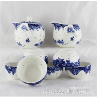 供应青花茶具 8头玲珑如意壶茶具 特色陶瓷茶具 镂空茶具