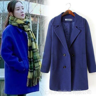 8682李小璐同款韩版纯色中长款毛呢大衣双排扣女式风衣大衣加棉女