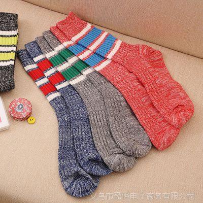 秋冬款民族风潮流男女袜子 男士长款纯棉毛线加厚袜子 地板袜
