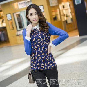供应2014新 韩版拼色打底衫 春秋装新款假二件套女衬衫