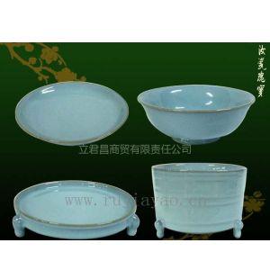供应汝家窑陶瓷工艺品收藏品摆件汝瓷四件套(大)