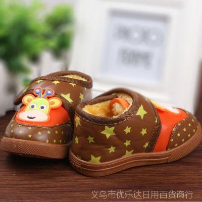 大牛1-2岁男童女童宝宝鞋子学步鞋婴儿鞋童鞋雪地靴加厚加绒保暖
