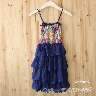 韩国进口童装花色吊带蓬蓬裙公主裙连衣裙