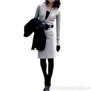 供应直销 热卖女装秋冬专柜长裙 高雅薄羊毛修身裙OLV领连衣裙6 10015