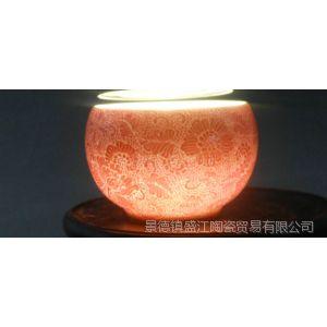 供应RYTN10景德镇 荣窑坊 精品手工陶瓷黄釉手绘扒花向日葵 品杯 茶杯