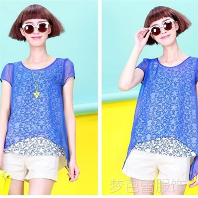 供应2014韩版夏新款青花瓷印花女式短袖雪纺衫上衣小衫女装大码女装