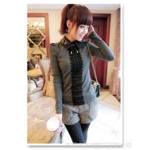 供应新款娃娃领气质修身长袖针织衫百打底衫T恤女 蕾丝