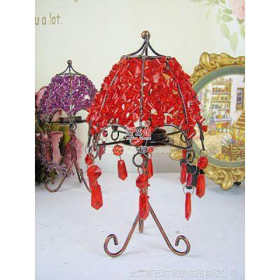 创意烛台/欧式装饰摆件/复古铁艺串珠三足烛台(红)TZT14R(红)