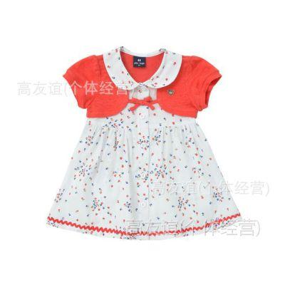 HG2014allolugh夏女童短袖连衣裙 可爱公主连衣裙假两件套原单