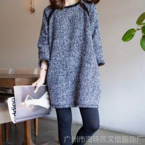 供应14[镇厂之宝]秋冬装新款韩版时尚粗花昵毛昵宽松连衣裙A515