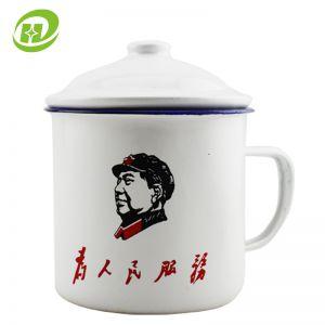 供应10cm大号怀旧经典搪瓷杯子带盖搪瓷缸茶杯复古茶缸创意水杯定制