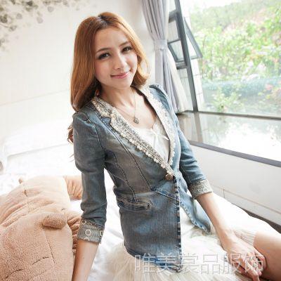 2014牛仔女外套 牛仔小西装女修身韩版 蕾丝串珠外套 实拍