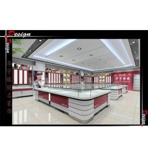供应河南郑州眼镜展柜设计--眼镜展示柜制作安装-烤漆玻璃展柜