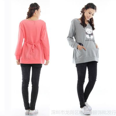 0518#新款孕妇装春夏装时尚韩版孕妇上衣长袖孕妇卫衣外套
