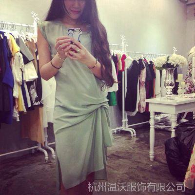 供应【Winvo】大牌高端系列 褶皱真丝连衣裙