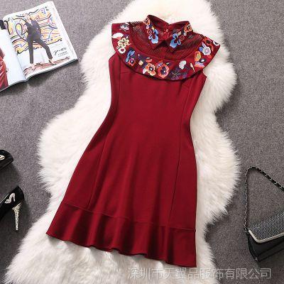 2014欧美大牌女装新款 高端品质领子绣花荷叶边时尚修身连衣裙