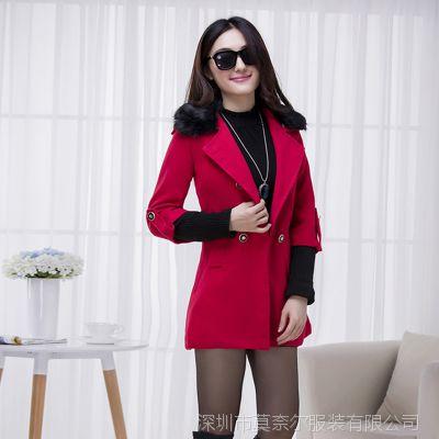 2014秋冬新款毛领女装红色呢大衣中长款毛呢外套
