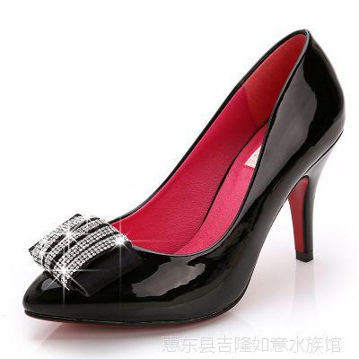 欧洲站新款闪亮明星鞋台湾进口亮片尖头细高跟鞋黑色女单鞋批发