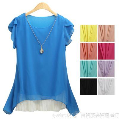 韩版女装夏季新款短袖糖果色假两件纯色宽松不规则女式雪纺衫上衣