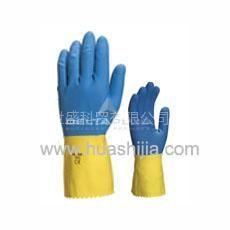 供应【天然双色乳胶浸胶手套】代尔塔乳胶手套