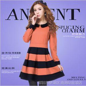供应秋冬新款女装韩版撞色长袖毛呢裙 冬款连衣裙 修身