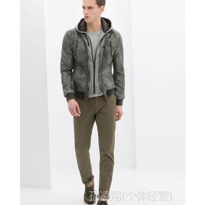 供应孙凌翔 14春款Z系男装 男士假两件PU皮衣 时尚活力款灰黑色外套