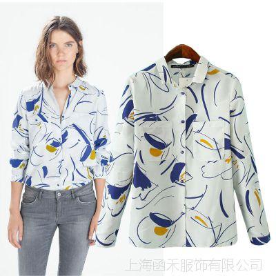 韩国代购明星同款印花长袖女衬衫2014秋装新款气质修身衬衣打底衫