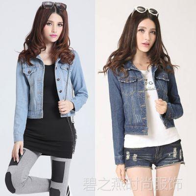 韩国好质量 翻领流行时尚牛仔衣 女式长袖牛仔外套 修身上装