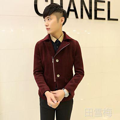2014秋冬新款韩版修身短款呢料男式风衣毛呢大衣男外套男潮F09
