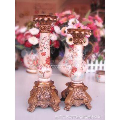 陶瓷装饰摆件  CZT5H 欧式堆料手绘豆荚花烛台二件套