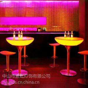 供应LED发光吧台 会所餐厅装饰茶几简约酒吧台茶几 led时尚高脚圆桌