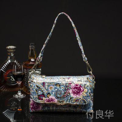 外贸原单 广州女包热卖单肩包油彩花包时尚花纹女装手袋出厂批发