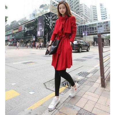2014秋冬新款女装中长薄款韩版修身长袖气质红色风衣外套女