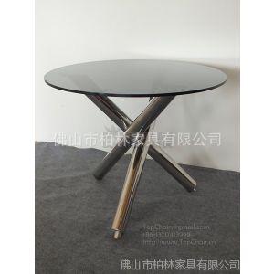供应高质量的不锈钢洽谈桌 4S连所店咖啡桌 玻璃三脚茶几