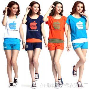 供应2014 夏季新品 短袖苹果印花女款韩版短裤运动服休闲三件套装