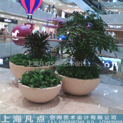供应H80cm梭子造型花盆|商场美陈玻璃钢白色花盆