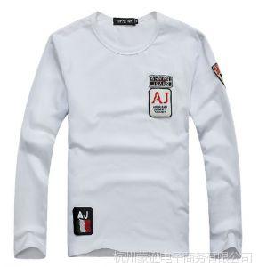 供应2014新款男士打底衫 韩版潮流 AJ袖标男士长袖T恤 男装批发