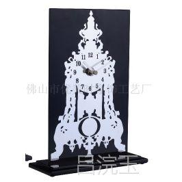 供应时尚简单艺术玻璃仿古个性石英挂钟 台钟