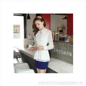 供应COCO 2014春装新款蕾丝拼接雪纺衫中长款T恤显瘦V领长袖打底衫
